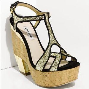 Miu Miu glitter t strap platform sandal